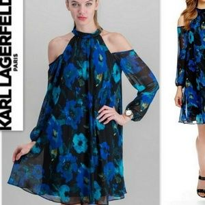 KARL LAGERFELD Paris Cold Shoulder Floral Dress